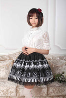 Black Chandelier Printed Fairy Tale Themed Lady's Pleated Lolita Skirt