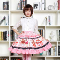 Fancy Mori Girl Short Skirt Sweet Pink Cup Cake Printed Lolita Pleated Skirt
