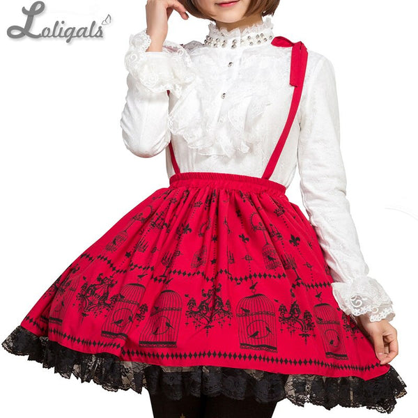 Sweet Mori Girl Deep Red Birdcage Printed Short Suspender Skirt for Summer