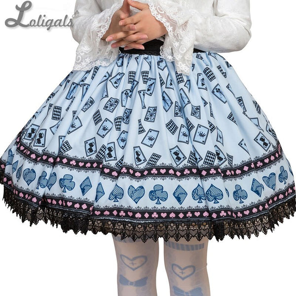 Sweet Mori Girl Sky Blue Poker Card Printed Short Skirt for Summer