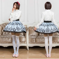 Sweet Mori Girl Light Sky Blue Pocket Watch Printed Short Skirt with Lace Trimming