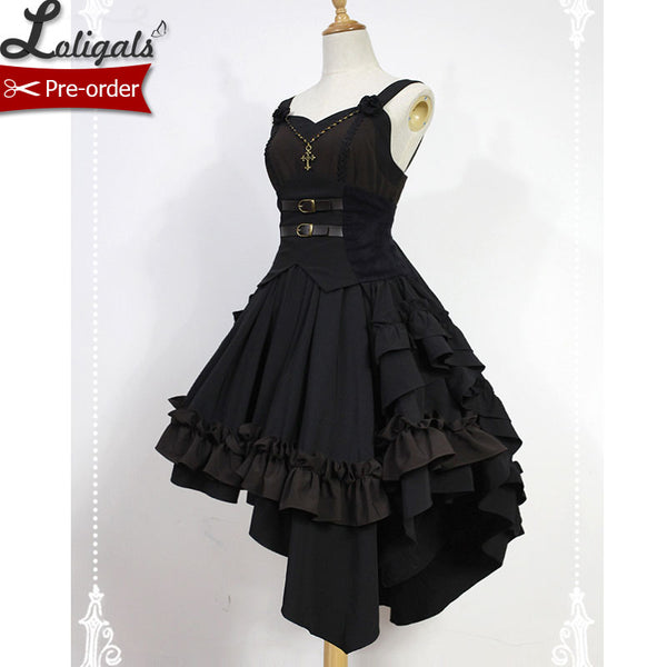 Dark Angel  ~ Gothic Lolita Dress High Low Lolita JSK Dress by Soufflesong