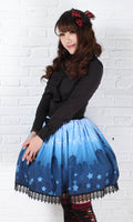 Sweet Princess Blue Moonlight Castle Printed Pleated Lolita A Line Skirt with Lace Trim and Bow