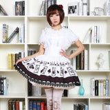 Kawaii Japanese Style Short Skirt Empire Waist Punk Poker Card Printed Short Jumper Lolita Skirt