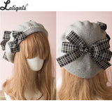 Sweet Women's Lolita Sailor Beret Gothic Wool Beret Hat with Lovely Bows for Winter