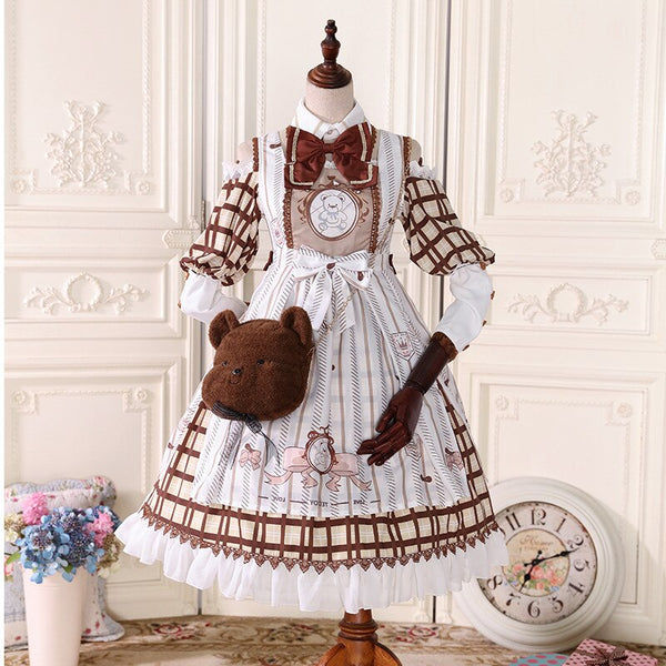 Baby Bear Printed Retro Style Lolita Chiffon Dress Vintage Party Dress