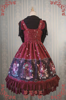 Sweet Lolita JSK Dress Alice Wonderland Series Printed Empire Waist Sleeveless Dress by Strawberry Witch