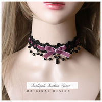 Sweet Lolita Chocker Necklace Cute Bowknot Chocker with Beaded Chain