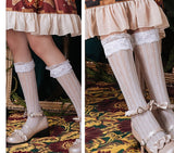 Sweet Lace Long Stockings Lolita Heart Hollowed-out Stockings White/Black