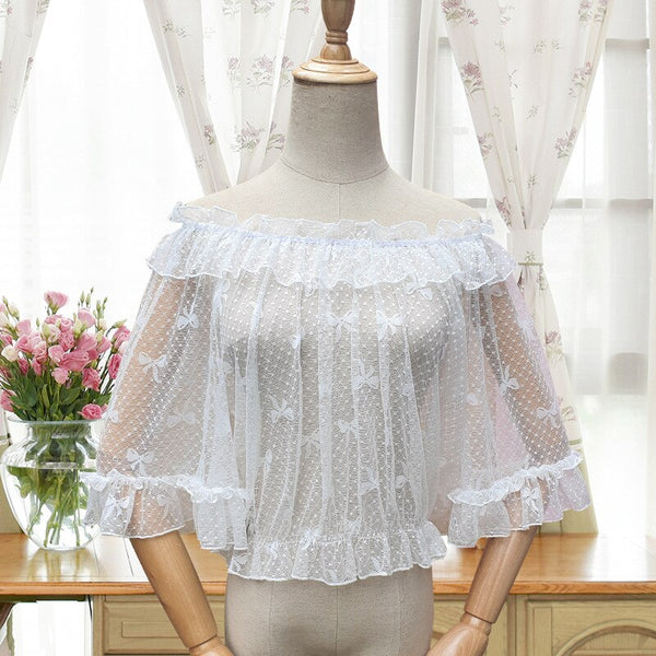 Sweet Off the Shoulder Lace Top Sheer Lolita Lace Blouse