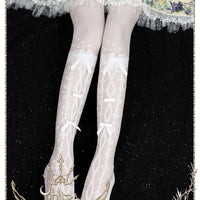 Flower's Wedding Dress ~ Long Lolita Summer Stockings with Bow-knot by Yidhra