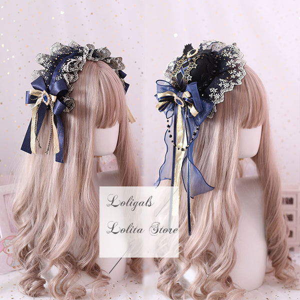 Star & Moon ~ Sweet Navy Blue Lolita Headband Cute Accessories