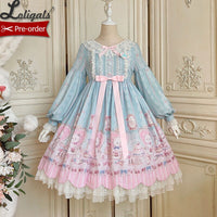 Kitten's Tea Party ~Sweet Printed Lolita Long Sleeve Dress by Alice Girl ~ Pre-order