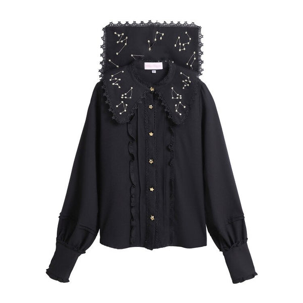 Sweet Constellation Embroidered Lolita Shirt Sailor Collar Chiffon Blouse for Women