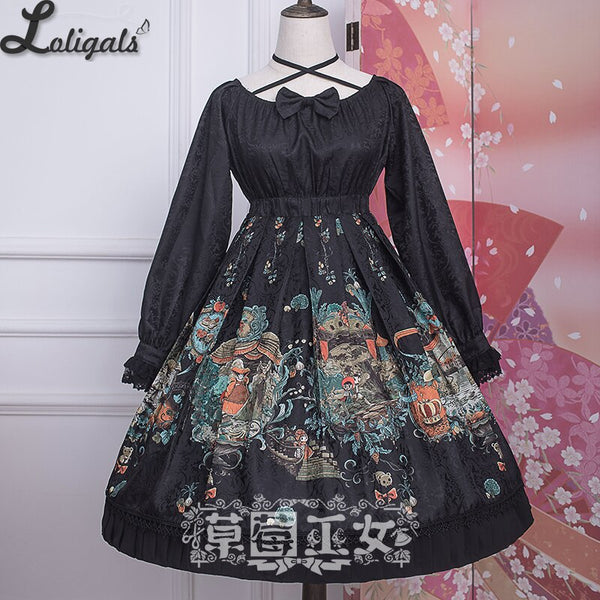 Chipol's Fairytale Land ~ Sweet Criss Cross Long Sleeve Lolita Dress by Strawberry Witch