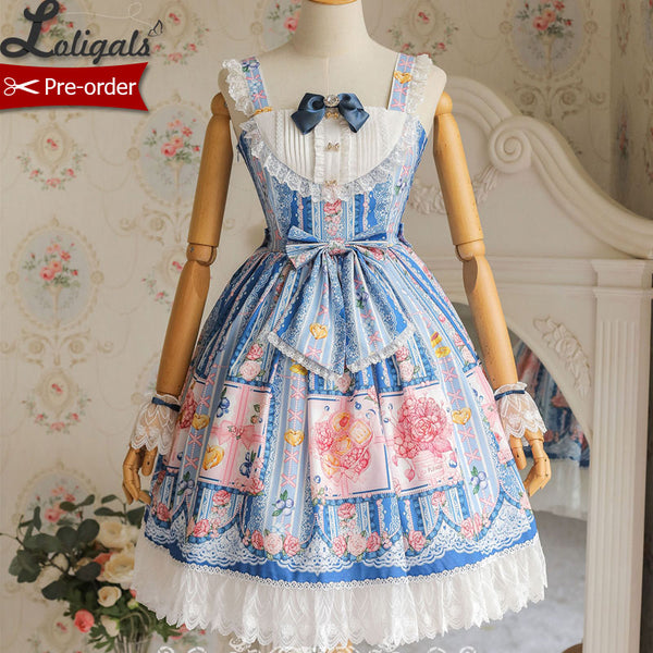 Berries & Flowers ~ Sweet Printed High Waist Lolita JSK Dress ~ Pre-order