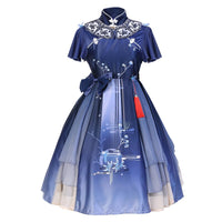 The Moon in Mirror ~ Vintage Short Sleeve Lolita Dress Mandarin Collar Qi Dress by Idream