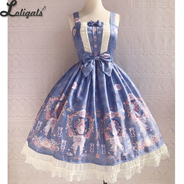 The Exquisite Printing ~ Sweet Lolita JSK Dress Ruffled Midi Party Dress for Women