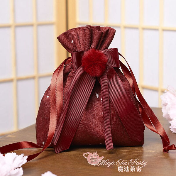 Rainy & Sunny Day ~ Kimono Style Lolita Pouch Satin Bag by Magic Tea Party