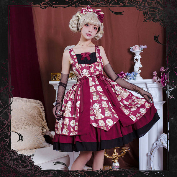 Baking & Coffee ~ Sweet Printed Lolita JSK Dress Sleeveless Party Dress by Magic Tea Party