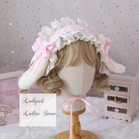 Sweet Lolita Ruffled Headband with Detachable Long Rabbit Ears Cute Mori Girl KC Headdress