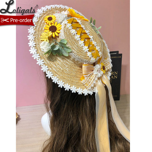 Sunflower ~ Sweet Lolita Straw Hat Beautiful Sunhat by Alice Girl ~ Pre-order