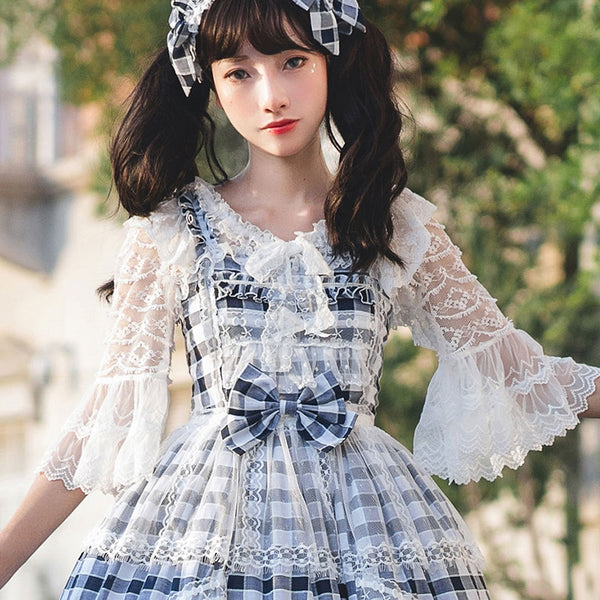 Sweet Half Flare Sleeve Lolita Top Summer Sheer Lace Blouse