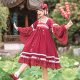 Swimming Carps ~ Long Lantern Sleeve Hanfu Dress Vintage Dress