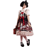 Crowned Bear ~ Sweet Printed Lolita JSK Dress High Waisted Dress by OCELOT