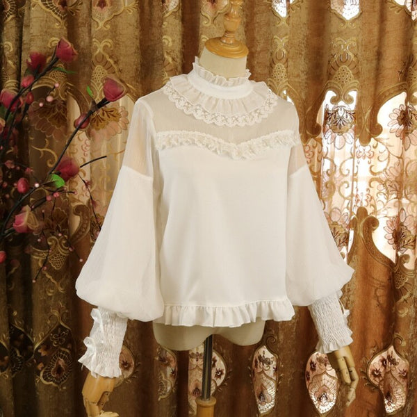 Sweet Lolita Chiffon Blouse Long Bishop Sleeves Illusion Neck Top