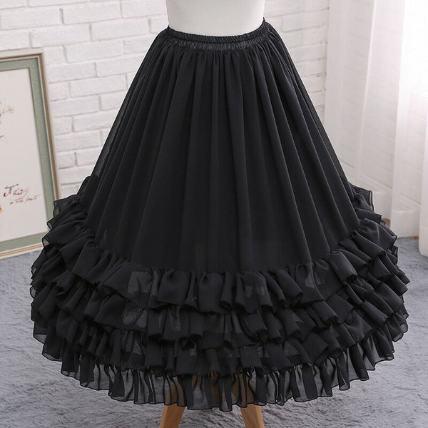 Ruffled Tea Length Lolita Petticoat Adjustable Crinoline Chiffon Underskirt