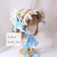 Elegant Lolita Bonnet Hat with Ruffled Lace Trimming Sweet Straw Hat