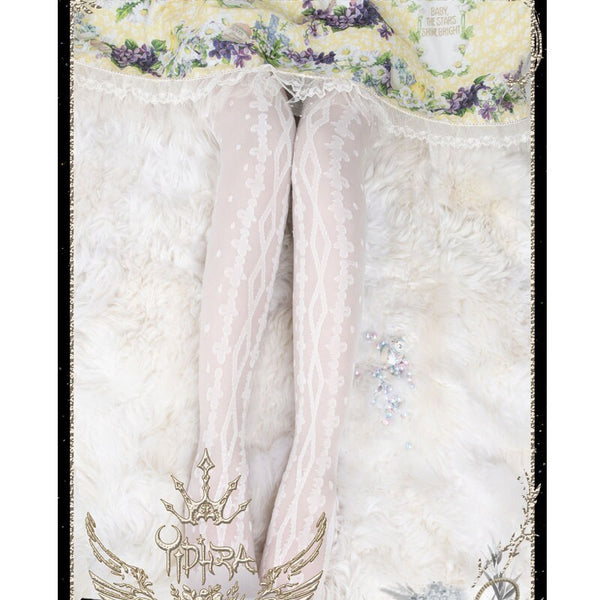 Flower's Wedding Dress ~ Sweet Long White Lolita Stockings by Yidhra