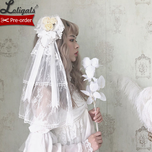 The Princess of Sea ~ Heart Style Lolita Headdress w. Veil by Alice Girl ~ Pre-order