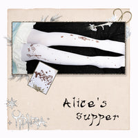 Alice's Supper ~ Sweet Lolita Patterned Tights Black Thick Fleeced Winter Pantyhose