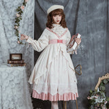 Spring Flowers ~ Sweet Printed Long Sleeve Lolita Dress Vintage Midi Dress