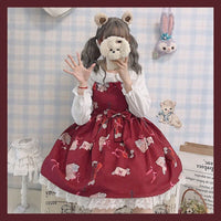 The Sound of Music ~ Japanese Style Printed Lolita Casual Dress & Long Sleeve Blouse