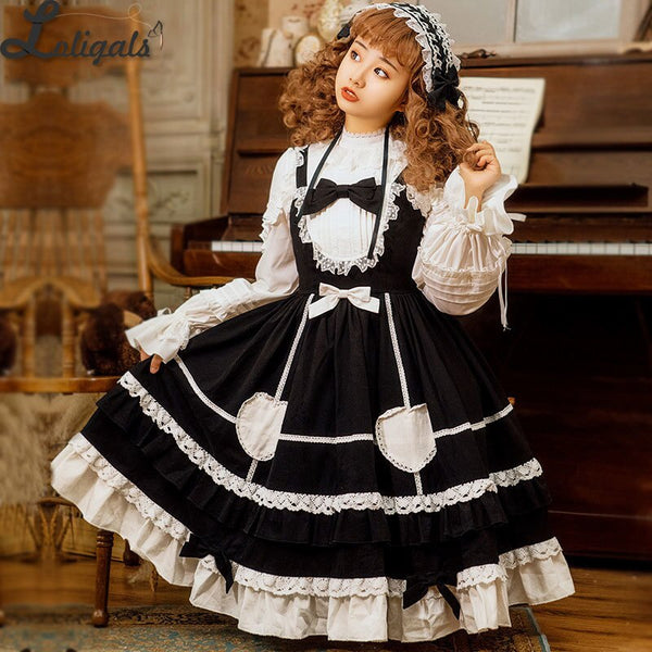 Little Pudding ~ Classic Lolita JSK Dress Cotton Midi Party Dress