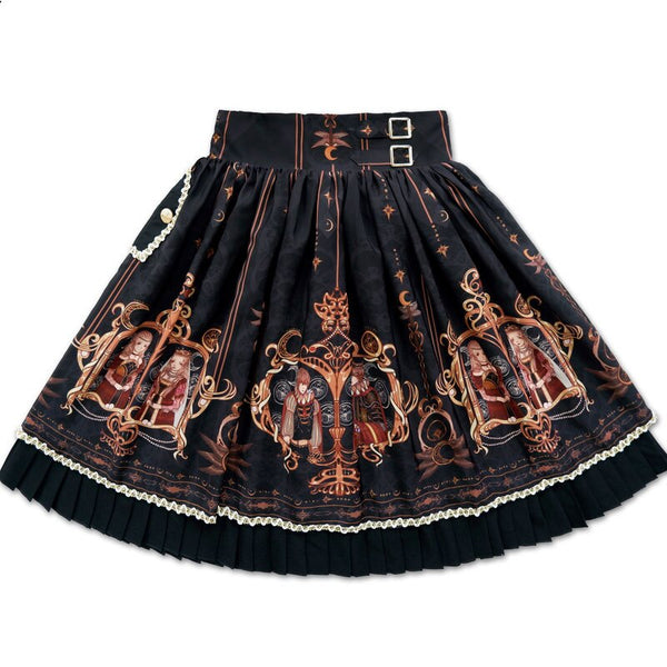 Dating at Starry Night ~ Sweet Printed Lolita Skirt Short A line Skirt by Mitsuba