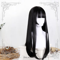 Hanako ~ Japanese Style Black Long Straight Wig with Bangs Cosplay Wig
