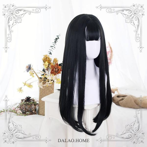 JaneNye ~ Harajuku Black Long Straight Wig with Bangs