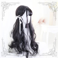 Sylvia ~ Harajuku Black Wavy Lolita Wig with Bangs