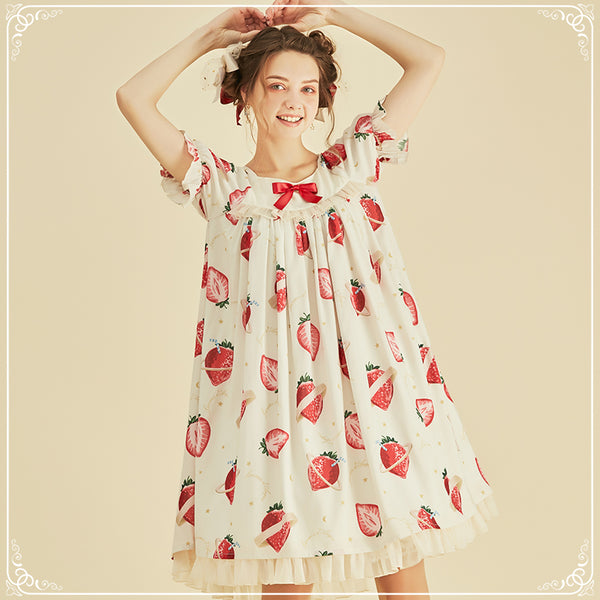 Strawberry Universe ~ Sweet Printed Lolita OP Dress by Larmes d'Anges