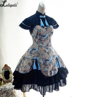 Classic Half Sleeve Layered Black Qi Style Floral Printed One Piece Lolita Dress with Tassels