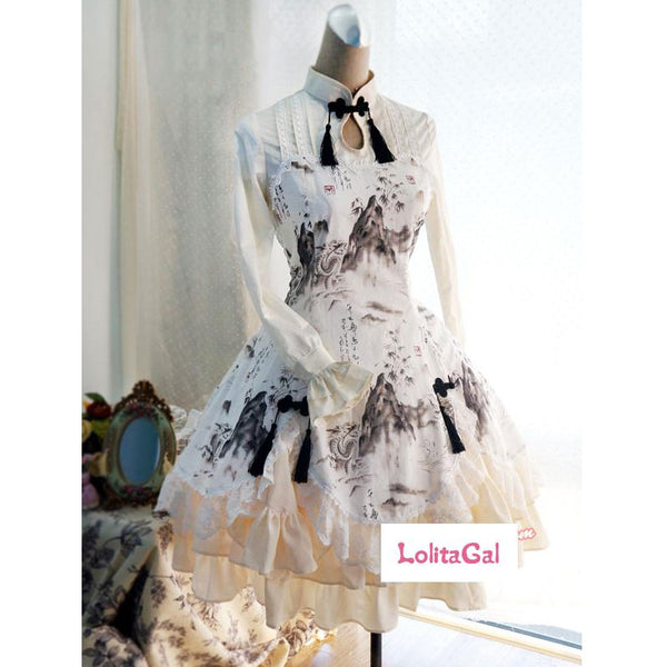 Sweet Chinese Style Dragon and Landscape Keyhole Neck Ink Printed Long Sleeve Lolita Dress with Laceup Back