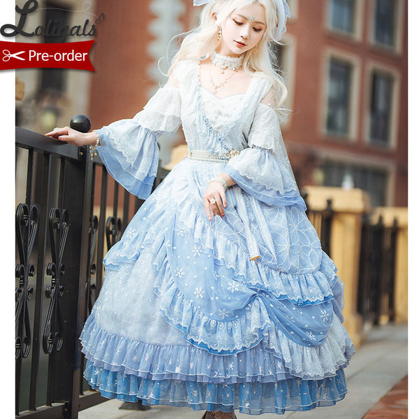 Frozen Throne ~ Fairy Sky Blue Snowflake Embroidered Ombre Lolita Cold Shoulder OP Dress