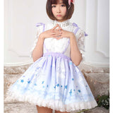 Cute Mori Girl Short Lolita Jumper Skirt Pegasus Printed Pleated A line Skirt for Women