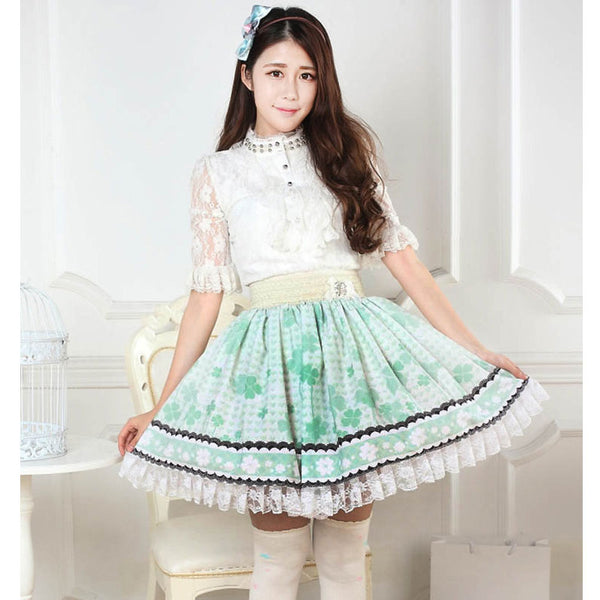 Sweet Light Green Short Skirt Cute Clover Printed Lolita Pleated Skirt with Lace Trimming