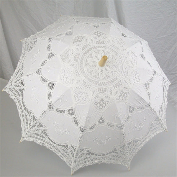 Handmade Cotton Lace Umbrellas Bride Parasol Umbrella Wedding Decoration Lace Umbrella for Lolita dress Fashion show Parties
