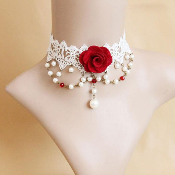 Lolita Gothic Bridal Handmade Red Flower Rose Crystal Drop Lace Choker Necklace